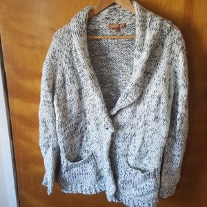 White and grey wool button down cardigan